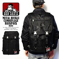 (ベンデイビス)BEN DAVIS公式 METAL BUCKLE CAMOUFLAGE BACKPACK -BLACK- FREE