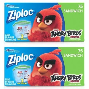 Ziploc Limited Edition Angry Birds Sandwich Bags ( 2 Boxes ) ( 150袋合計)