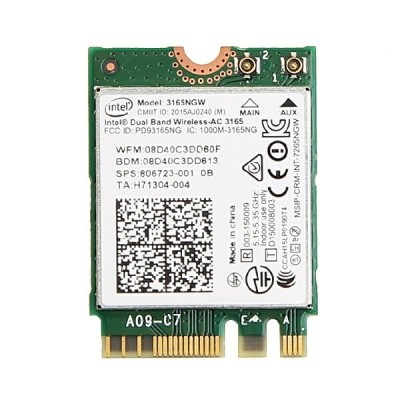 インテル Intel Dual Band Wireless-AC 3165 デュアルバンド 2.4/5GHz 1x1 802.11ac/a/b/g/n 最大433Mbps + Bluetooth 4...