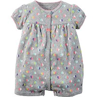 Carters Baby Girls Snap-Up Cotton Romper Multi Heart Grey 3M by Carter's