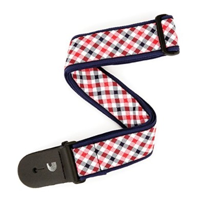 Planet Waves by D'Addario プラネットウェーブス ギターストラップ Gingham Woven Guitar Strap T20S1500 Red and Navy ...