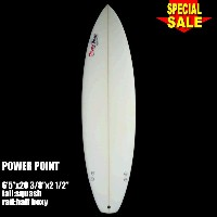 "Power Point パワーポイント サーフボードショートボード 6'5"" フィン付 Shortboard (A80051)Surfboard 未使用アウトレット特価【代引不可】"