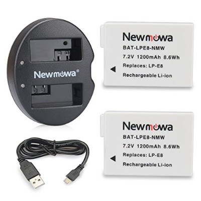 Newmowa キャノンLP-E8 互換バッテリー 2個 + 充電器 セットCanon LP-E8 and Canon EOS 550D 600D 650D 700D EOS Rebel T2i...
