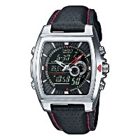 腕時計 カシオ Casio Stainless Steel Edifice Square Black Dial Chronograph Strap Red Accents【並行輸入品】