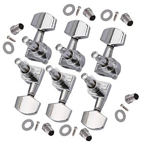 Yibuy 6-in-line Set of 6L Sealed ギターマシンヘッドTuning Keys,クロム