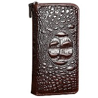 Zhhlaixing 高級財布 Mens Soft Cowhide Leather Crocodile Pattern Layer Brown Zipper Handbag Wallet Fit...