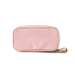 ithinkso DOUBLE ZIP MAKE UP POUCH ブラシが収納できるポーチ (ピンク)