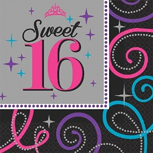 Elegant Sweet Sixteen Celebration Birthday Party Luncheon Napkins Tableware (16 Pack), Black/Gray,...