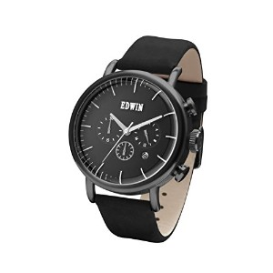Edwin ELEMENT Men's Chronograph Watch, Black Stainless Steel Case and Black Leather Band