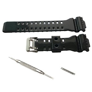 16mm Watch Band Strap fit Casio G Shock Gショック GA-100 GA-300 GD-100 GA-120 GA100B GA110 光沢黒 [並行輸入品]