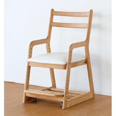 ISSEIKI 学童CHAIR チェアホワイト 木製家具 LIFE DESK CHAIR (NA+WH)