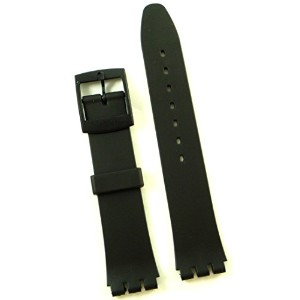 New 17mm (20mm) Sized Resin Strap Compatible for Swatch Watch - Black - RG12