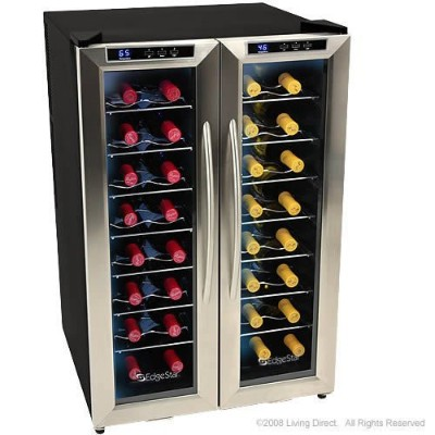 EdgeStar ワインクーラー ボトル32本 32 Bottle Dual Zone Wine Cooler with Stainless Steel Trimmed French Doors...