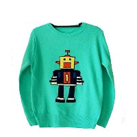 queenneeup、クイーンニアップ、女性ロボットスプリングセーター、ターコイズ色、Spring Sweater with Toy Embroidery