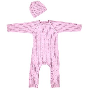 Tadpoles Cable Knit Romper and Hat Set, 3-6 Month, Pink by Tadpoles