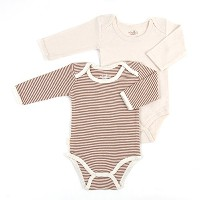 Tadpoles Organic Cotton 2Piece Romper Set Pinstripe/Solid, Cocoa 6-9 Months by Tadpoles