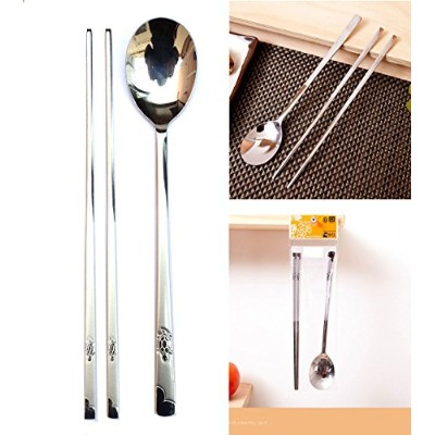 [QUEEN SENSE] ステンレススチールスプーンと箸6セット / Stainless Steel Spoon and Chopsticks 6Set / タートルパット / Turtle...