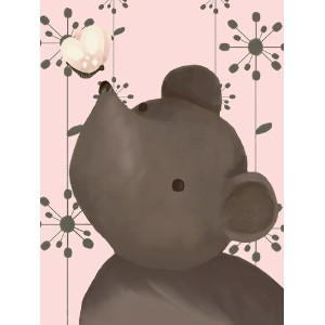 Oopsy Daisy Nosey Posey Powder Pink Stretched Canvas Wall Art by Meghann O'hara, 18 by 24-Inch by...