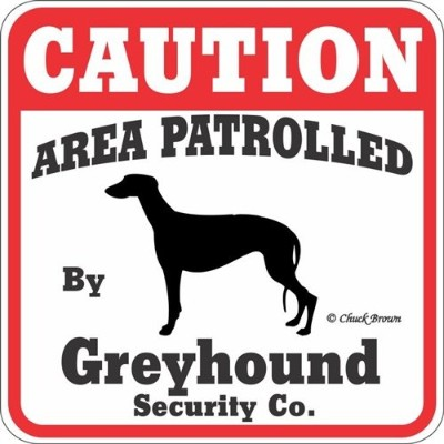 CAUTION AREA PATROLLED By Greyhound Security Co. サインボード:グレイハウンド 注意 警戒中 セキュリティ 看板 Made in U.S.A ...