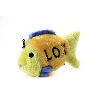 Copa Judaica Chewish Treat 4 by 1.5 by 2.5-Inch Lox Fish Squeaker Plush Dog Toy, Small, Multicolor...