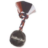 TireBiter Chew Toy Ball with Rope, Black, 4-1/2-Inch by Mammoth