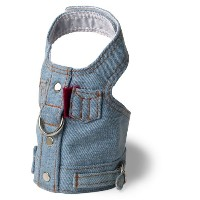 Doggles Dog Harness Jean Jacket, Blue, Extra Small by Doggles