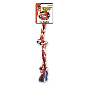 Flossy Chews Cottonblend Color 3-Knot Rope Tug, Mini, 10-Inch by Mammoth