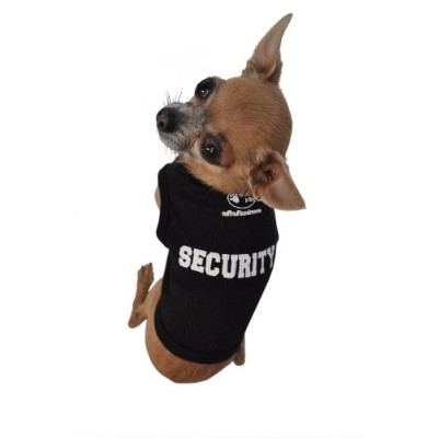 Doggie Tank Top, Security, Black, Extra-Small by Ruff Ruff and Meow