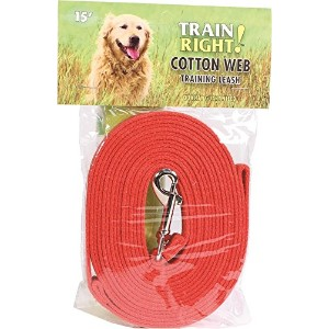 Coastal Pet Products 00515 RED15 Train Right! Cotton Web Dog Training Leash Red, 15 Ft by Coastal...