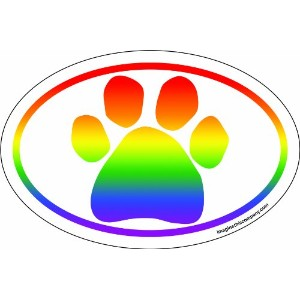 Imagine This 4-Inch by 6-Inch Car Magnet Oval, Smooth Rainbow Paw by Imagine This