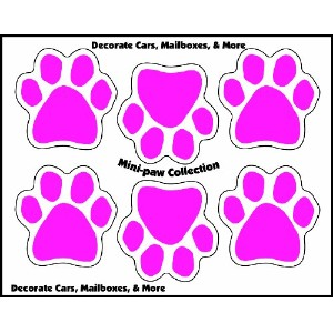 Imagine This 1-3/4-Inch by 1-3/4-Inch 6 Mini Paws Car Magnet, Pink by Imagine This