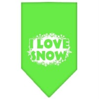 Mirage Pet Products 66-25-13 SMLG I Love Snow Screen Print Bandana Lime Green Small