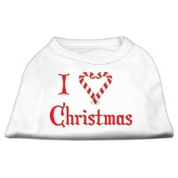 Mirage Pet Products 51-25-08 SMWT I Heart Christmas Screen Print Shirt White Sm - 10