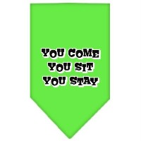 Mirage Pet Products 66-74 SMLG You Come, You Sit, You Stay Screen Print Bandana Lime Green Small