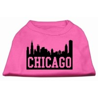 Mirage Pet Products 51-66 XLBPK Chicago Skyline Screen Print Shirt Bright Pink XL - 16