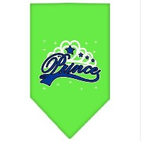Mirage Pet Products 66-41 SMLG Im a Prince Screen Print Bandana Lime Green Small