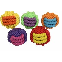 Multipet Nuts for Knots Rope/Rubber Ball Dog Toy, 3-Inch, Assorted Colors by Multi Pet