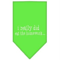 Mirage Pet Products 66-92 SMLG I really did eat the Homework Screen Print Bandana Lime Green Small