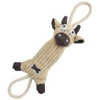 Jute And Rope Plush Cow - Pet Toy, One Size, Brown by Pet Life