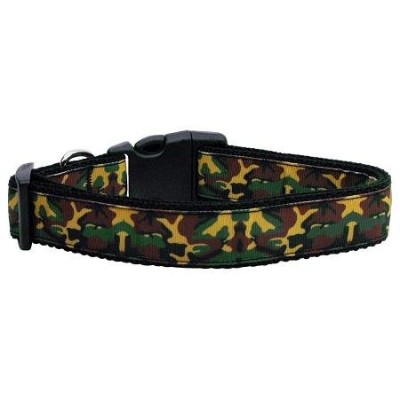Mirage Pet Products 125-050 MD Green Camo Nylon Ribbon Dog Collars Medium