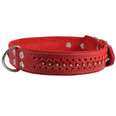 High Quality Genuine Leather Braided Studded Dog Collar, Red 1.6 Wide. Fits 19-24 Neck Size, German...