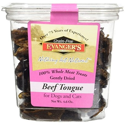 Evangers Dehydrated Beef Tongue Treat Whole Meat Freeze Dried for Dogs Cats 4.6z