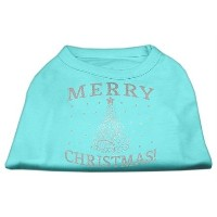 Mirage Pet Products 51-131 SMAQ Shimmer Christmas Tree Pet Shirt Aqua Sm - 10