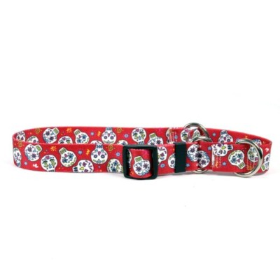 Sugar Skulls Red Martingale Control Dog Collar - Size Medium 20 Long - Made In The USA by Yellow...
