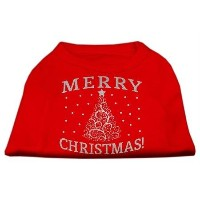 Mirage Pet Products 51-131 MDRD Shimmer Christmas Tree Pet Shirt Red Med - 12