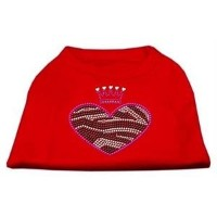 Mirage Pet Products 52-87 MDRD Zebra Heart Rhinestone Dog Shirt Red Med - 12