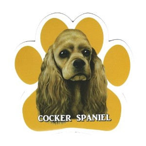 COCKER SPANIEL 足跡マグネットステッカー:コッカースパニエル(クリーム) 画像イラスト入り 英語犬種名 Designed in the U.S.A [並行輸入品]