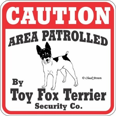 CAUTION AREA PATROLLED By Toy Fox Terrier Security Co. サインボード:トイフォックステリア 注意 警戒中 セキュリティ 看板 Made in U...