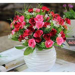 Linyuan 安定した品質 Artificial Flowers 造花 45 Head Rose Bush with Buds+Vases for Indoor Decoration