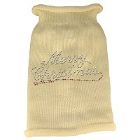 Merry Christmas Rhinestone Knit Pet Sweater XL Cream